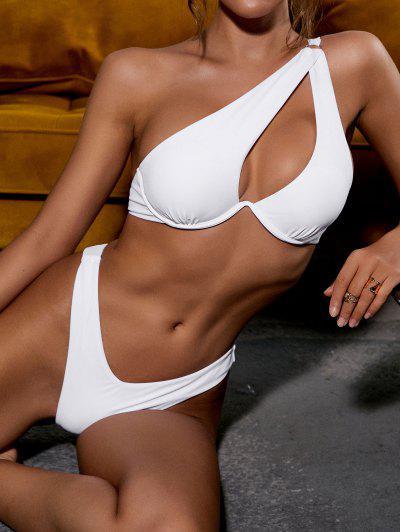 ZAFUL Einziger Schulter Bügel Bikini Badebekleidung Mit Hohem Ausschnitt - Weiß S