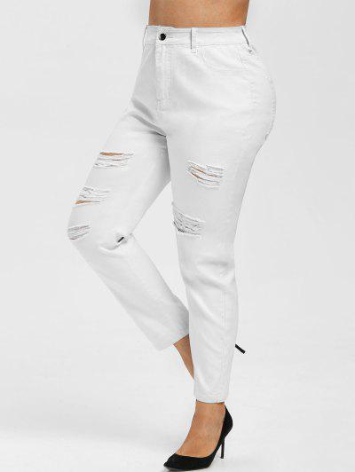 Plus Size High Rise Ripped Fitted Jeans - White 5x