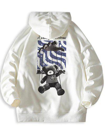 Toy Bear Letter Graphic Drop Shoulder Hoodie - White Xl
