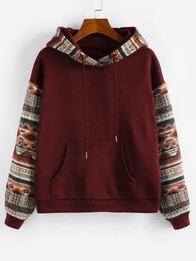 ZAFUL Ethnic Seamless Pattern Drop Shoulder Fleece Lined Hoodie - Red Wine L