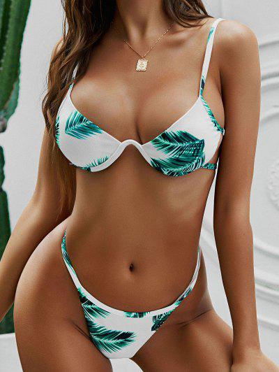ZAFUL Plant Print Ribbed Underwire String Bikini Swimwear - Pine Green M