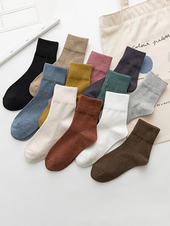 12 Pairs Solid Crew Socks Set