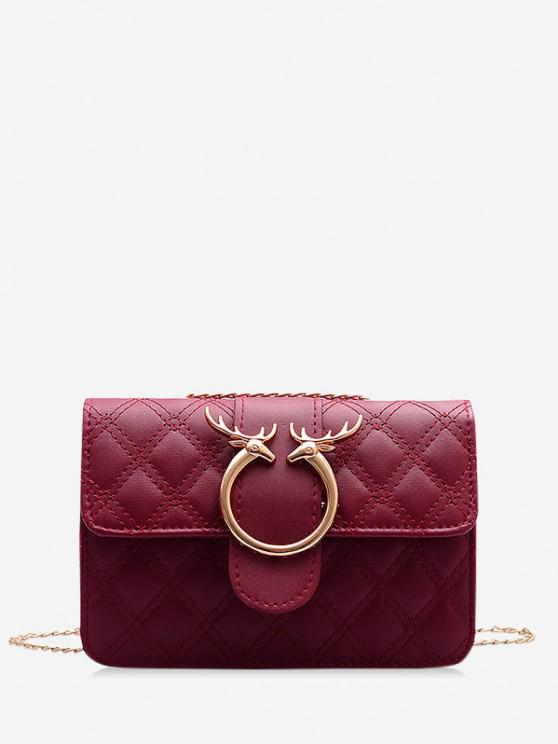 hot Elk Shape Chain Quilted Crossbody Bag - CHERRY RED