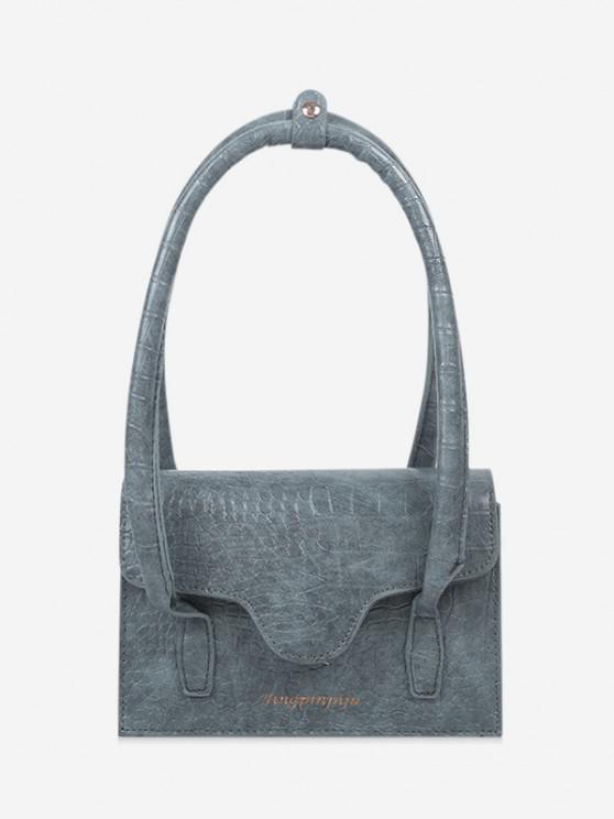 outfit Letters Print Cover Shoulder Bag - SLATE BLUE