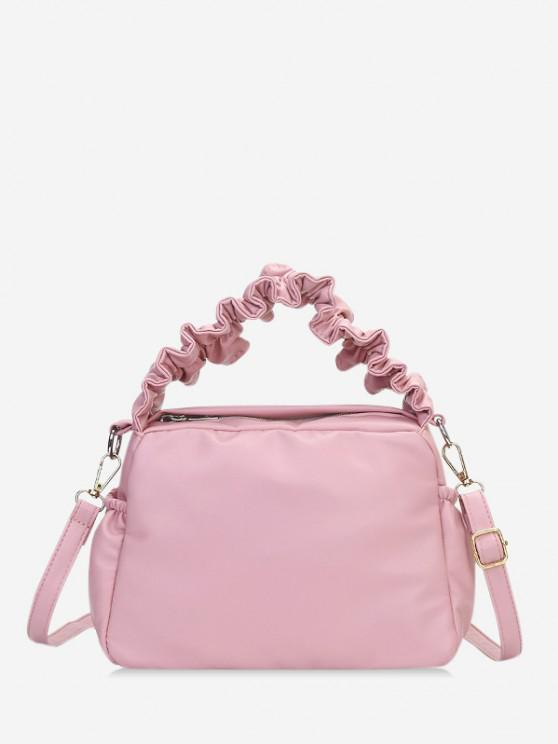trendy Ruffle Strap Solid Hand Bag - PIG PINK