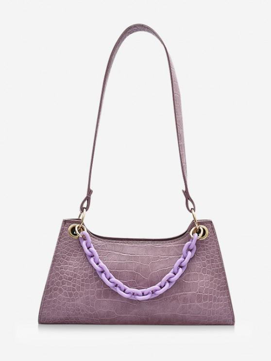 Solid French Style Chain Shoulder Bag - الوستارية الأرجواني