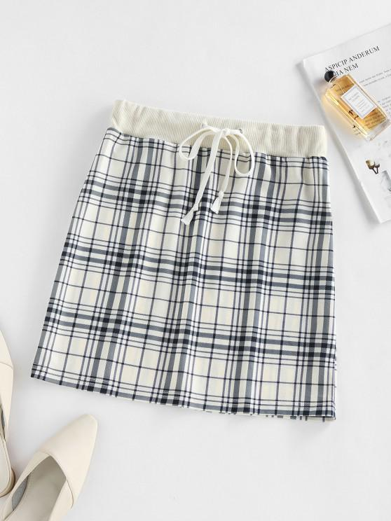fancy ZAFUL Plaid Drawstring Sheath Skirt - LIGHT COFFEE M