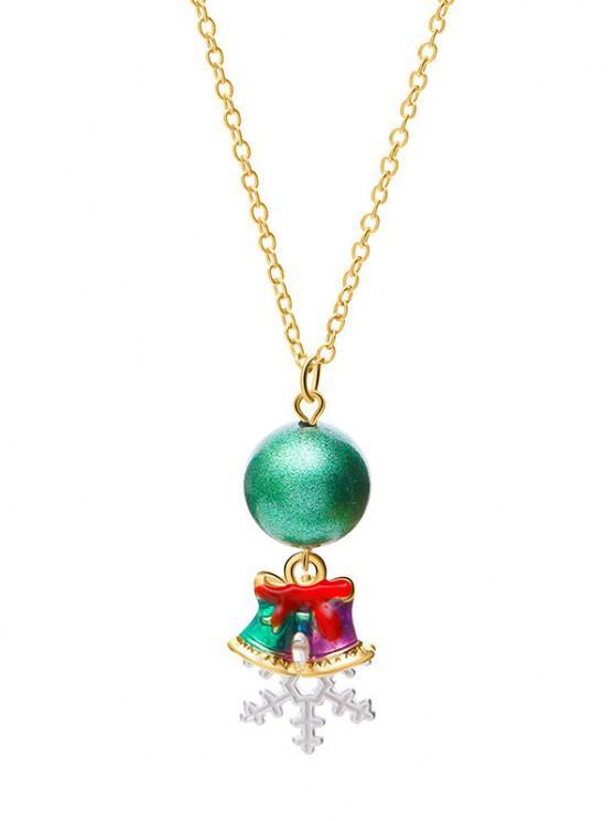 new Christmas Bell Snowflake Charm Necklace - MEDIUM AQUAMARINE
