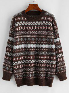 Graphic Crew Neck Fair Isle Knit Sweater - Multi-a