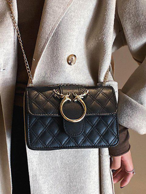 Elk Shape Chain Quilted Crossbody Bag - أسود  Mobile