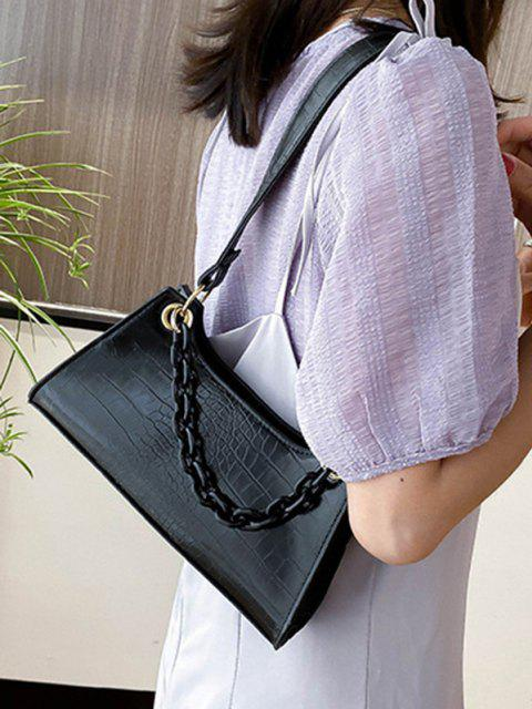 lady Solid French Style Chain Shoulder Bag - BLACK  Mobile