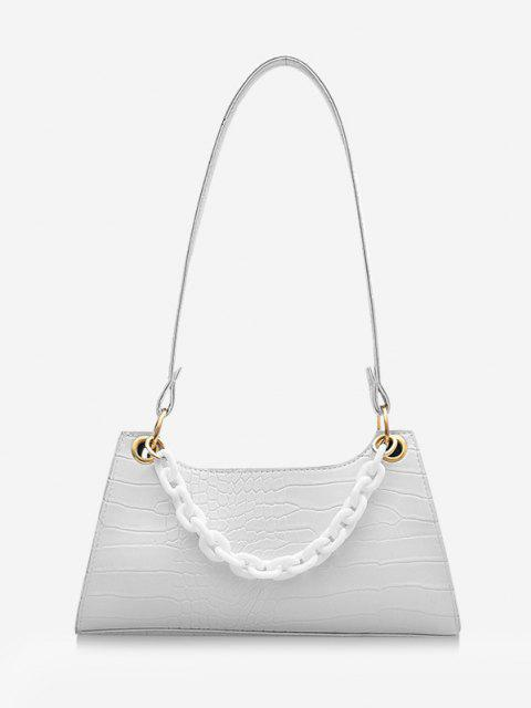 best Solid French Style Chain Shoulder Bag - MILK WHITE  Mobile