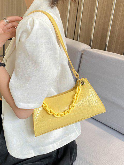 online Solid French Style Chain Shoulder Bag - RUBBER DUCKY YELLOW  Mobile