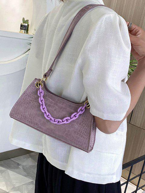 new Solid French Style Chain Shoulder Bag - WISTERIA PURPLE  Mobile