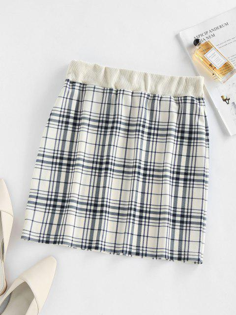 women's ZAFUL Plaid Drawstring Sheath Skirt - LIGHT COFFEE S Mobile