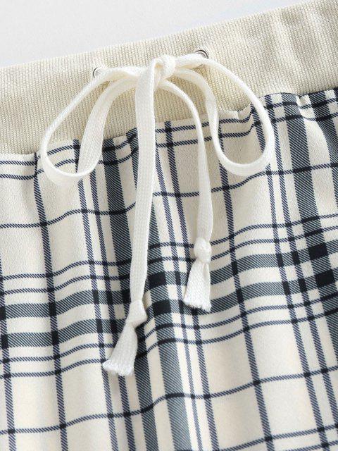 women's ZAFUL Plaid Drawstring Sheath Skirt - LIGHT COFFEE S Mobile
