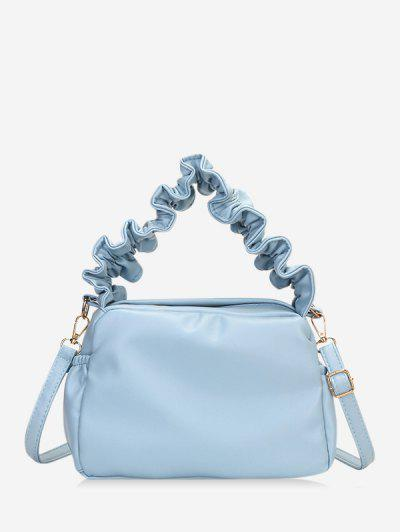 Ruffle Strap Solid Hand Bag - Blue Gray
