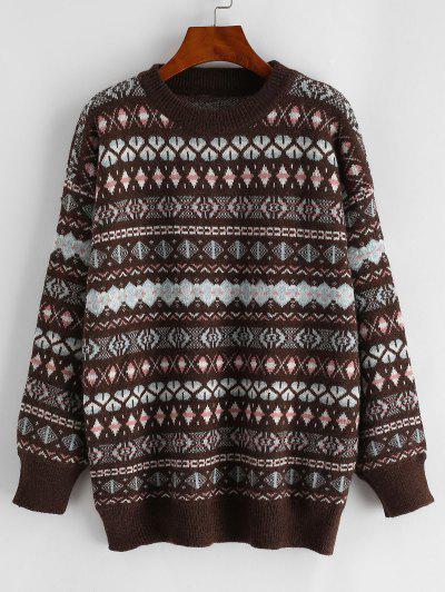 Graphic Crew Neck Fair Isle Knit Sweater - Multi-a