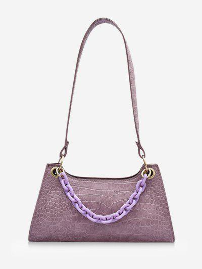 Solid French Style Chain Shoulder Bag - Wisteria Purple