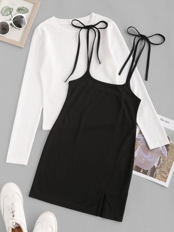 shops Ribbed Tee and Slit Suspender Dress Set - BLACK L