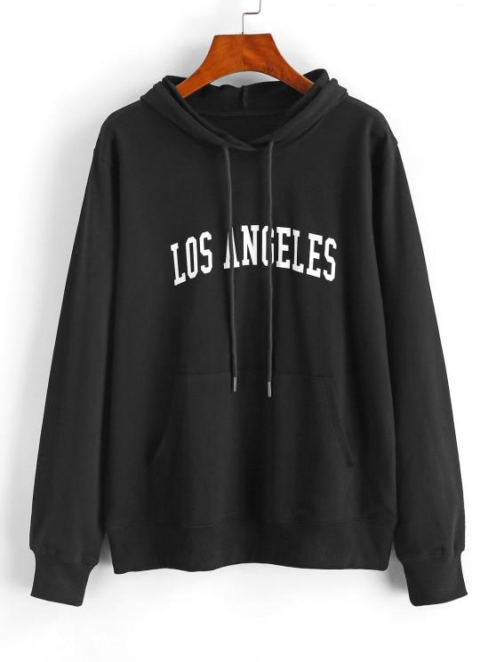 Pullover Los Angeles Graphic Front Pocket Hoodie - أسود XS
