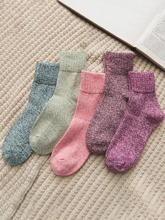 women's 5 Pairs Marled Winter Socks Set - MULTI-A