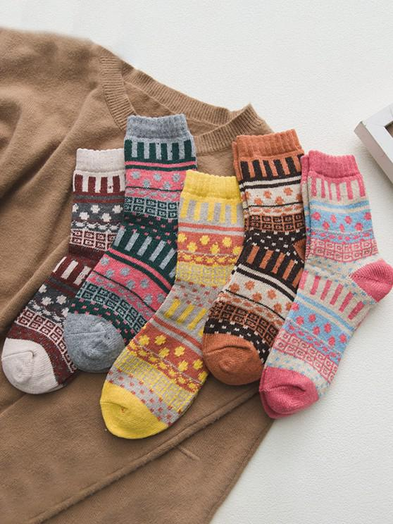 online 5 Pairs Geometric Print Socks Set - MULTI-A
