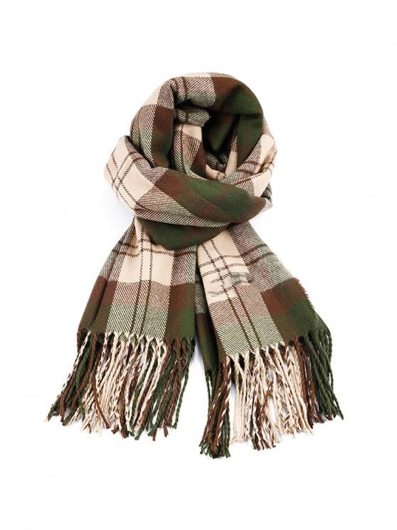 affordable Plaid Tassel Faux Cashmere Long Scarf - DARK FOREST GREEN