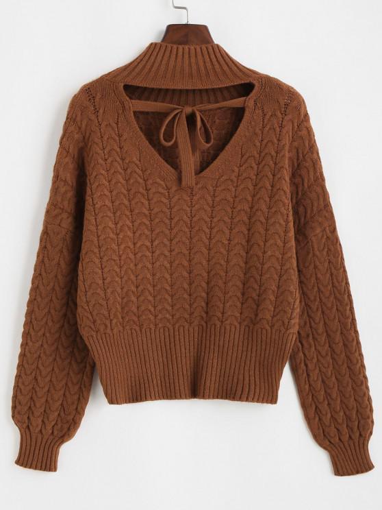 Suéter de Crochê Laceado com Decote Profundo Costa Aberta nas Costas - Café Escuro Um Tamanho