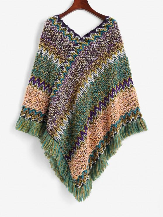 outfit Intarsia Knit Fringed Poncho Sweater - MULTI ONE SIZE