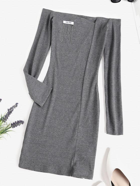 lady Chain Ribbed Off Shoulder Mini Dress - DARK GRAY M