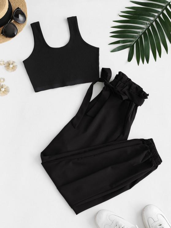 trendy Ribbed Cropped Belted Paperbag Pants Set - BLACK S