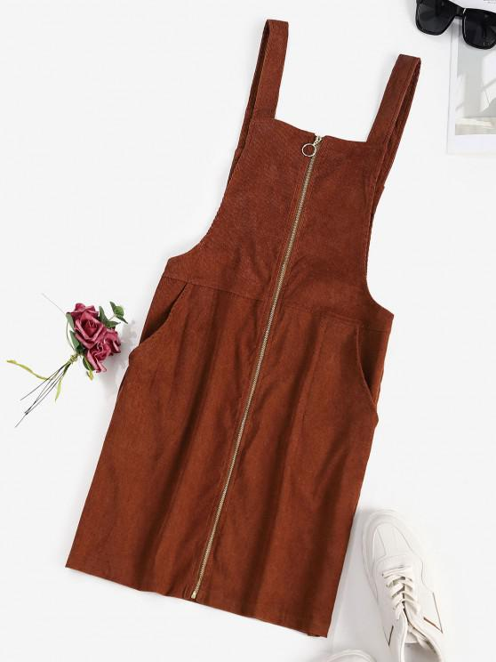 Corduroy O Ring Zip Pocket Overall Dress - قهوة S