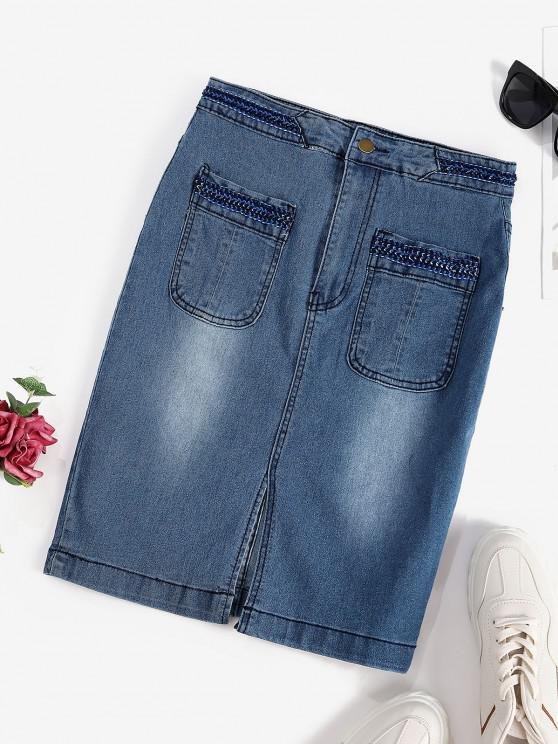 best Front Slit Braided Trim Denim Bodycon Skirt - BLUE XL