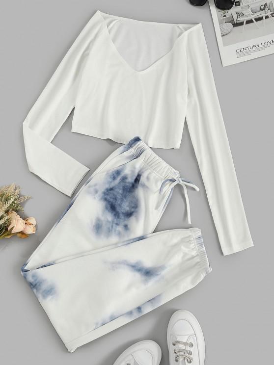 fancy Raglan Sleeve Tie Dye Pocket Sweatpants Set - WHITE M