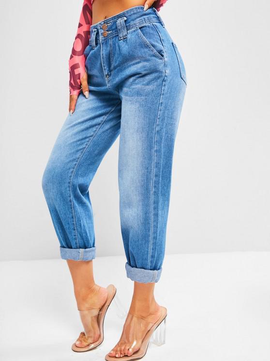 Dual Button High Rise Pencil Mom Jeans - ازرق XL