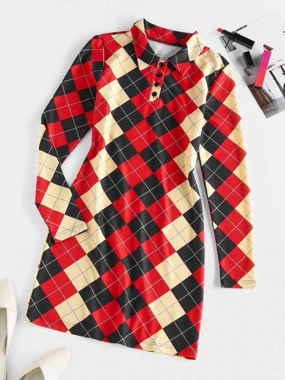 womens ZAFUL Argyle Button Placket Bodycon Dress - MULTI S