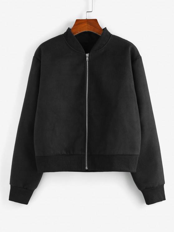 ZAFUL Zip Up Plain Ribbed Trim Jacket - أسود M
