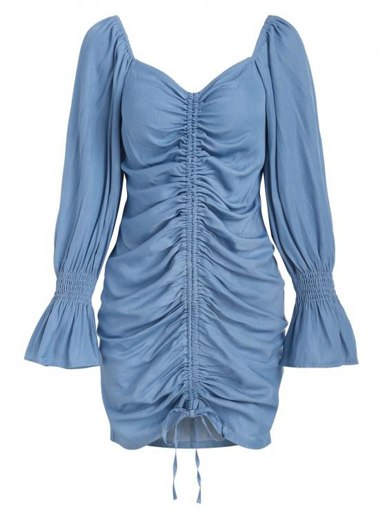 unique ZAFUL Poet Sleeve Cinched Front Chambray Mini Dress - LIGHT BLUE M