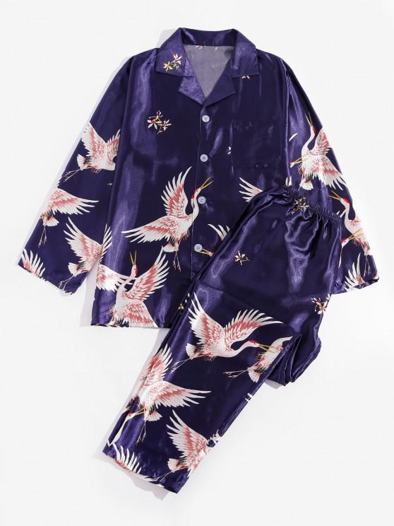 Flying Crane Floral Pattern Pajamas - ازرق غامق M