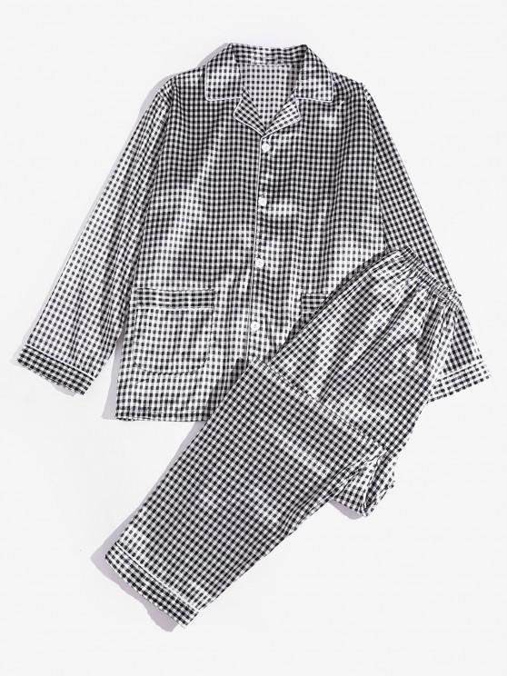 Plaid Pattern Pajama Set - أسود 2XL