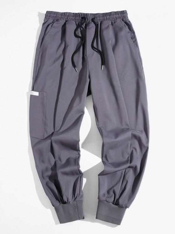 Calças de Cintura Elástica com Elástico e Pés Apertado - Cinzento XL