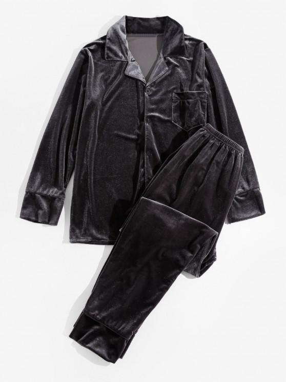Solid Velvet Pocket Long Sleeve Pajama Set - اللون الرمادي M