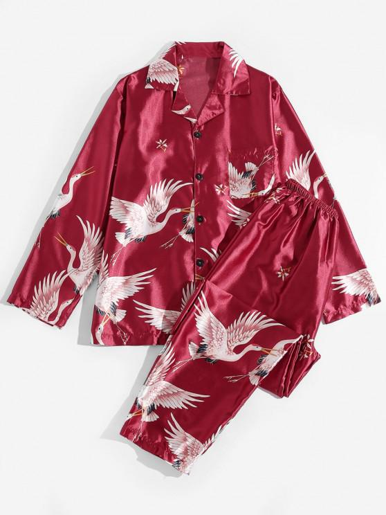 outfits Flower Flying Crane Print Silky Pajama Set - RED L