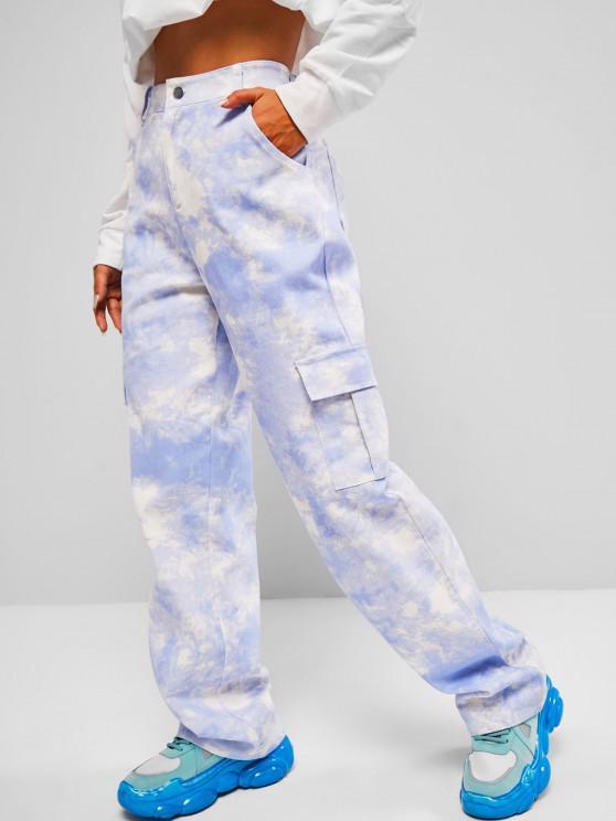 fancy Tie Dye Baggy Cargo Jeans - BLUE S