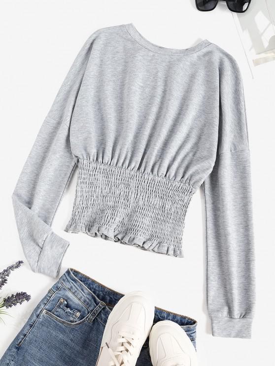 Drop Shoulder Smocked Hem Frilled Sweatshirt - رمادي فاتح XL