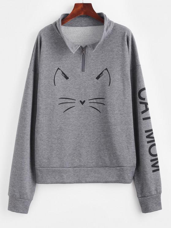 Drop Shoulder Cat Graphic Quarter Zip Sweatshirt - جيت جراي L