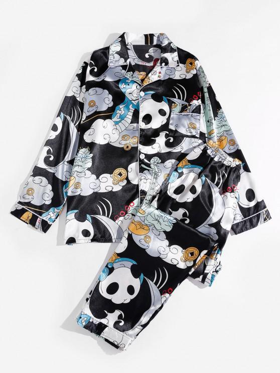 Playing Music Panda Print Graphic Silky Pajama Set - متعدد M