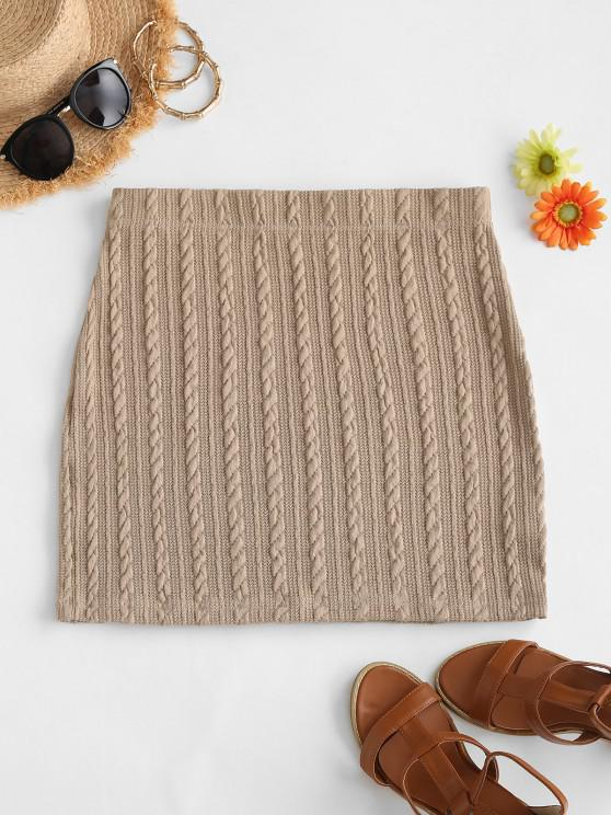 hot Sheath Cable Knit Skirt - COFFEE S