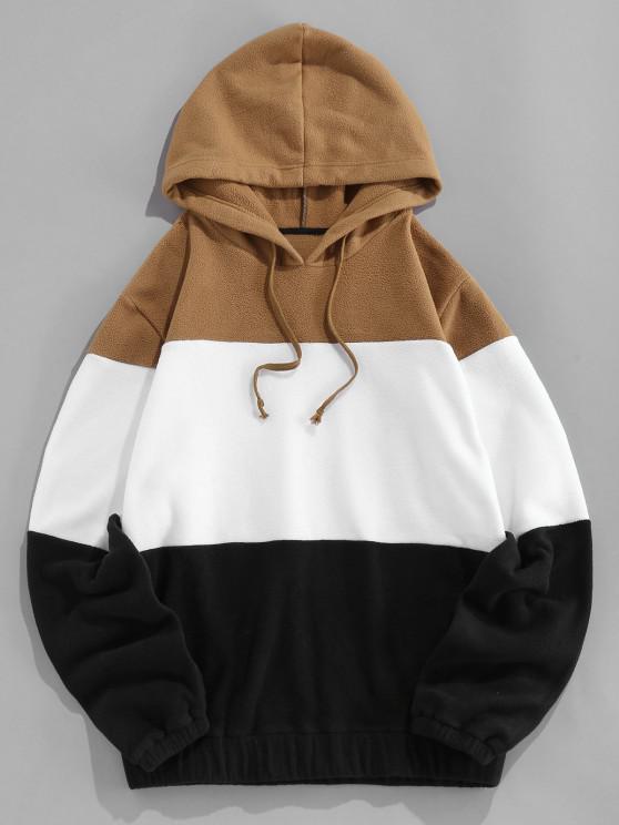 ZAFUL Drawstring Contrast Fleece Hoodie - متعدد S